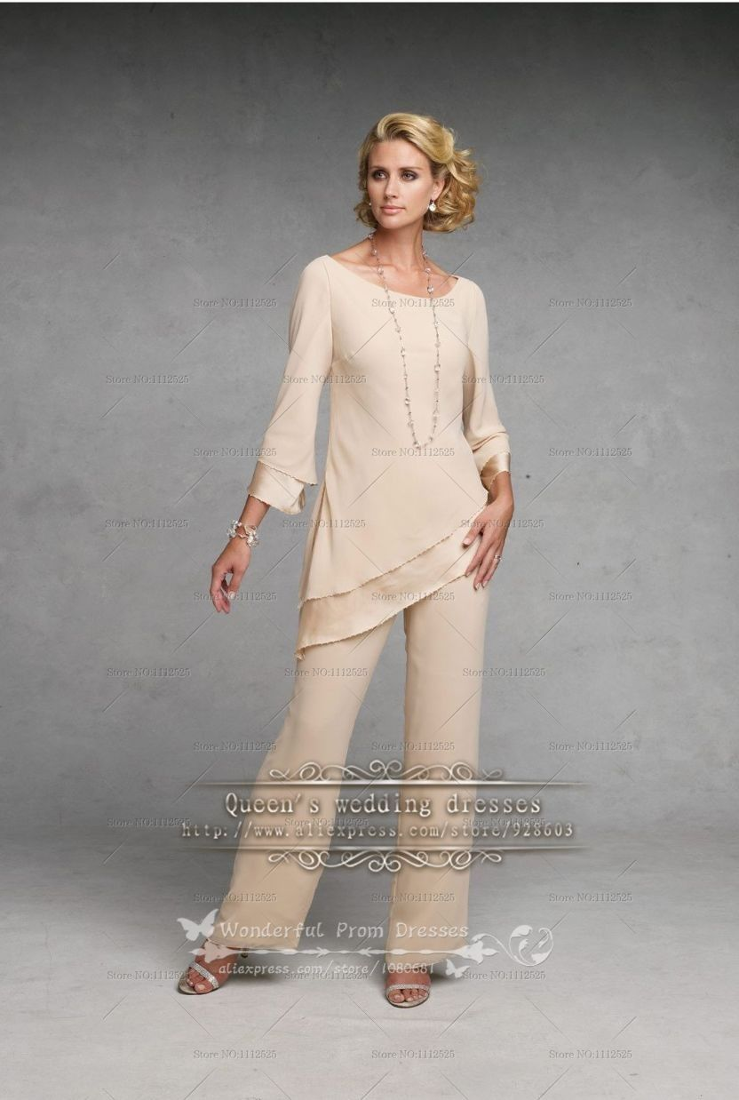 Champagne Simple Chiffon mother of the bride pant suits nmo-098 ...