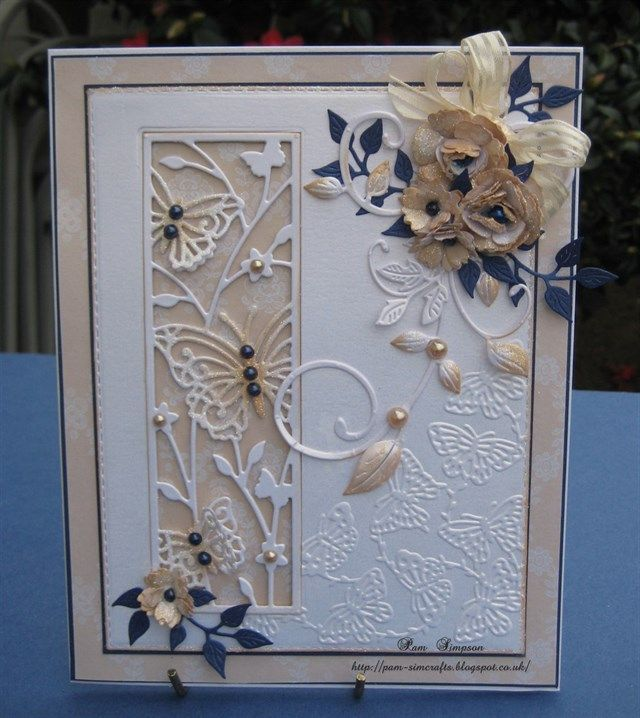butterfly panel  embossed cards hand made greeting