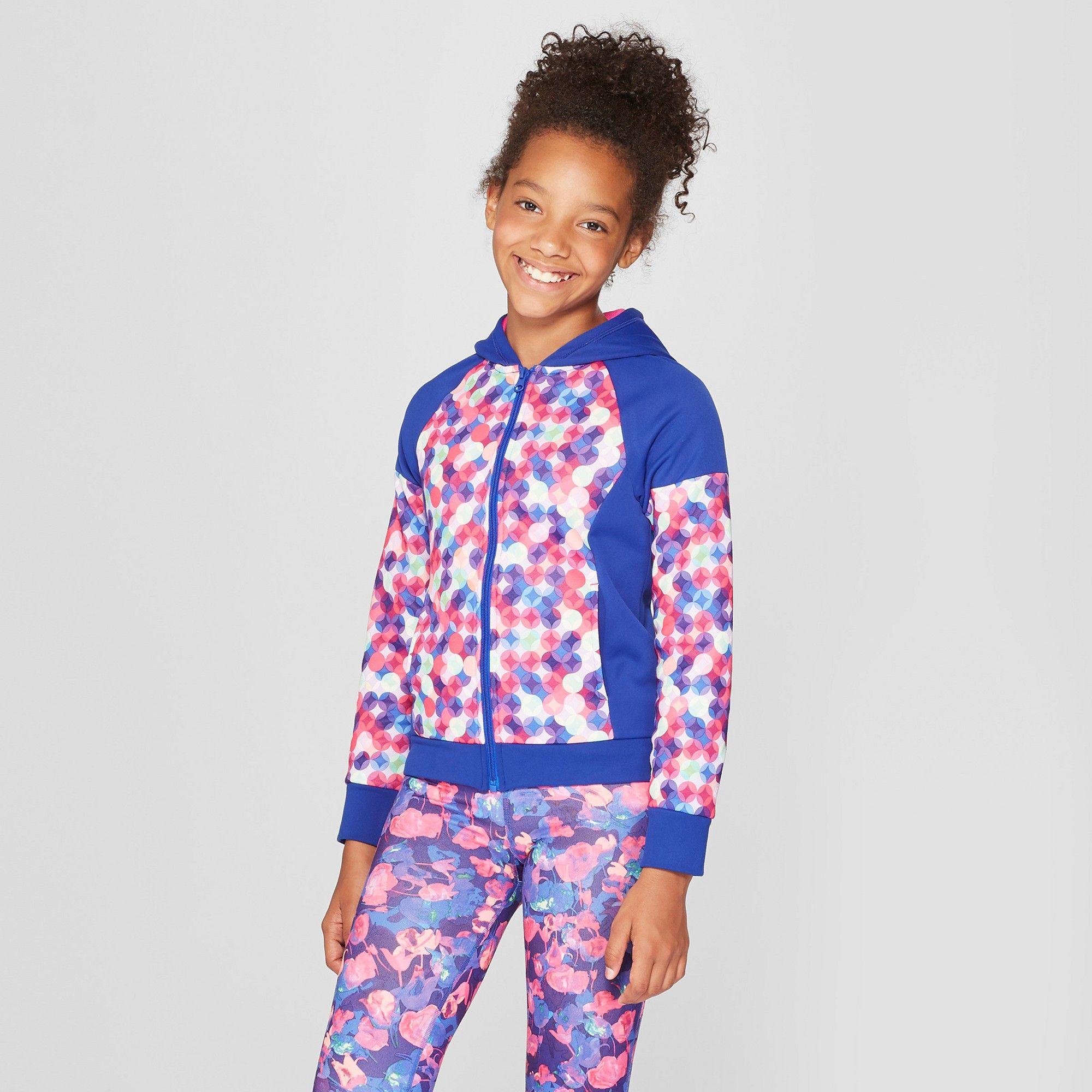 42acbe394 Girls' Printed Tech Fleece Full Zip Hoodie - C9 Champion Light Pink Tulips  Multi Print XL, Purple