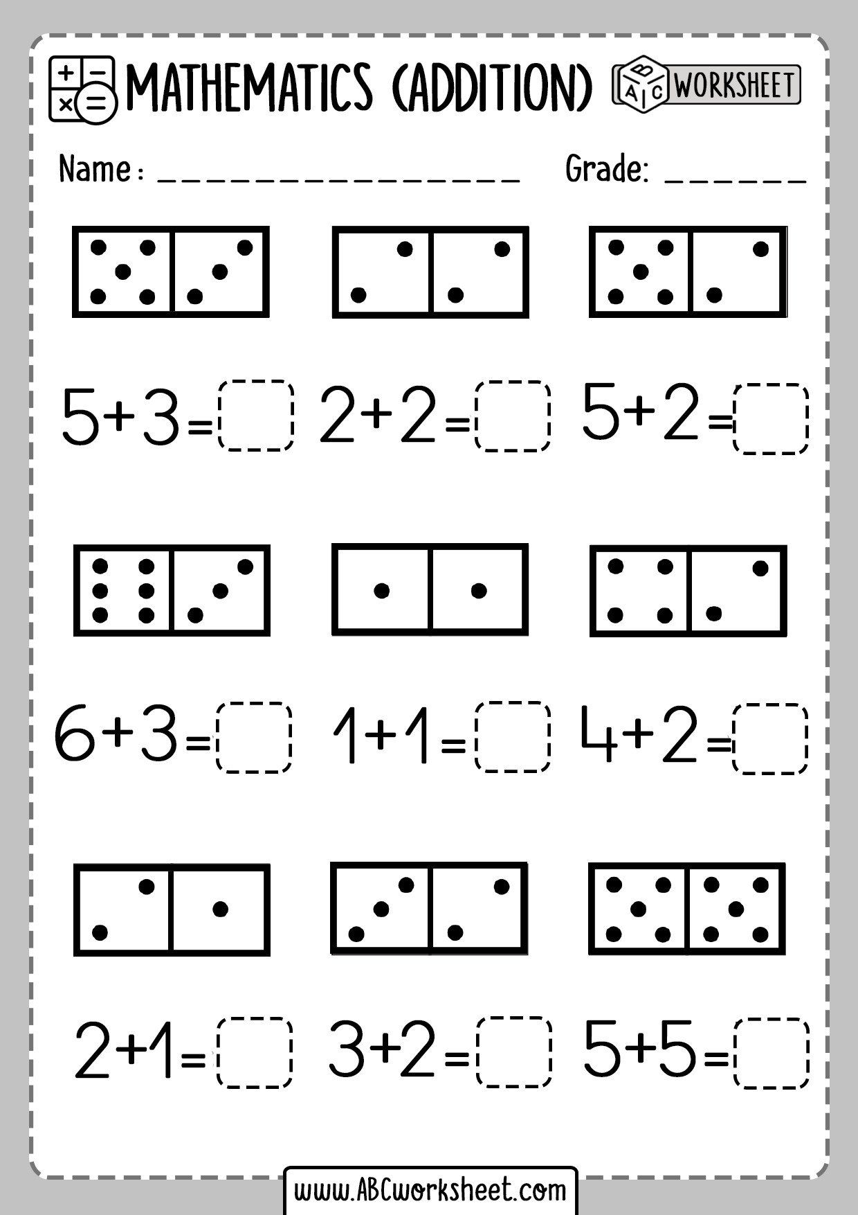 Domino Addition Worksheets First Grade Worksheets