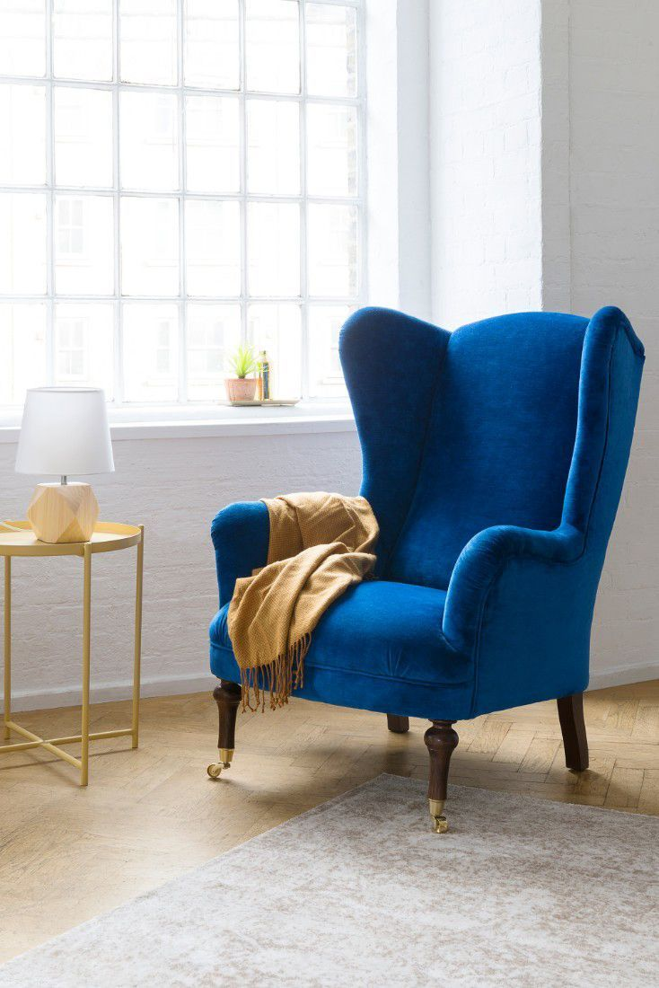 Cobalt blue wing back chair blue chairs living room