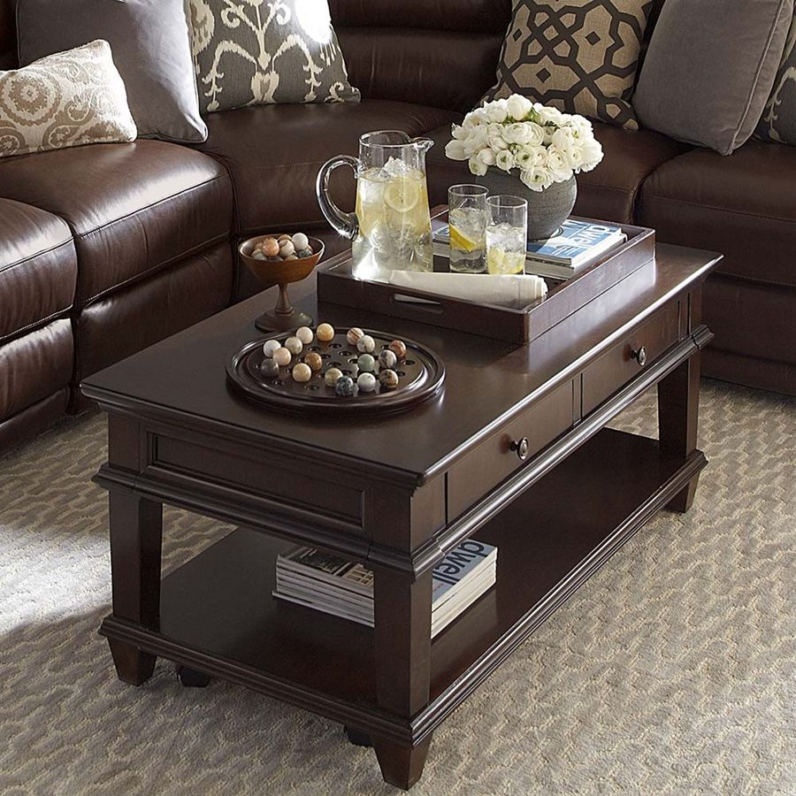 Captivating Coffee Table Decorating, Table With Drawers, Sectional Brown  Couch. Coffee