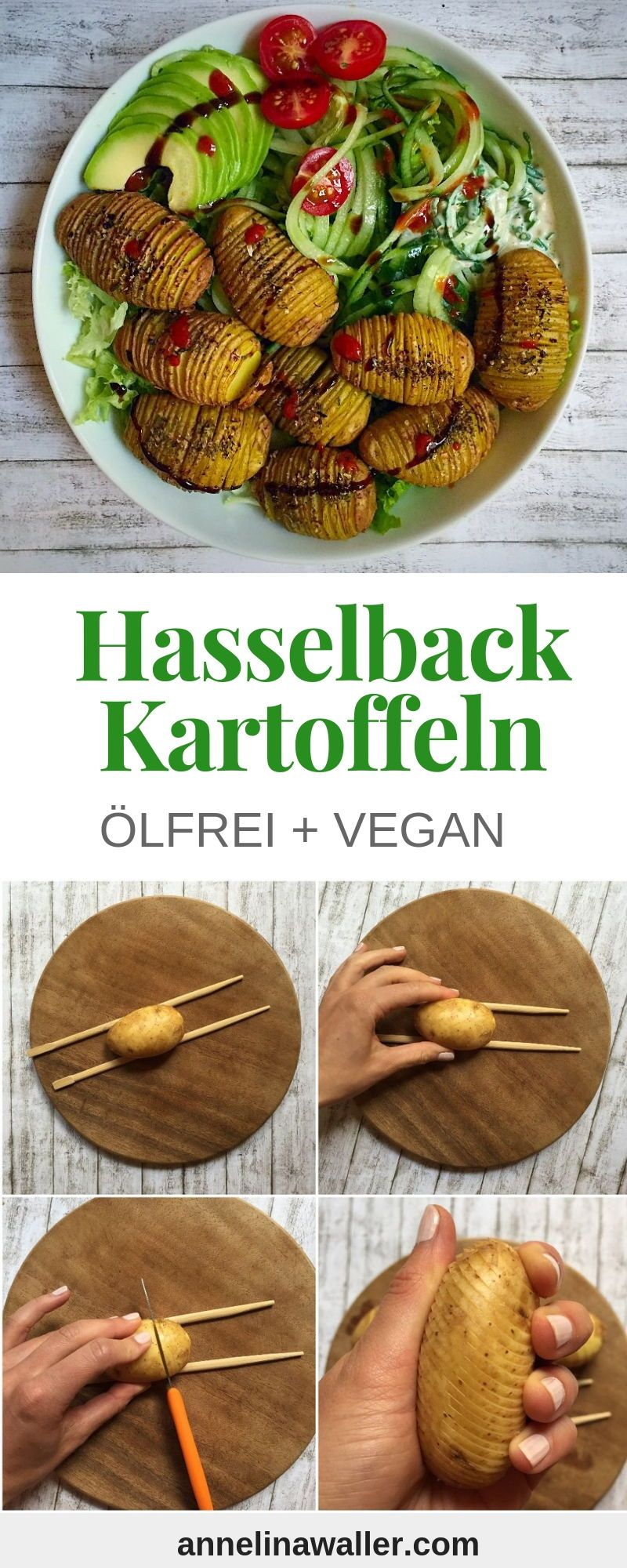 Ölfreie Hasselback Kartoffeln mit Aquafaba