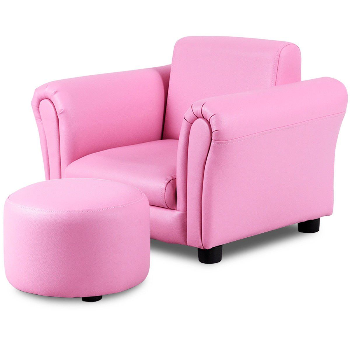 Costzon Kids Sofa Pu Leather Upholstered Armrest Sturdy Wood Construction Toddler Chair Pink Sofa With Footstool Kids Sofa Chair Single Sofa Chair Kids Sofa