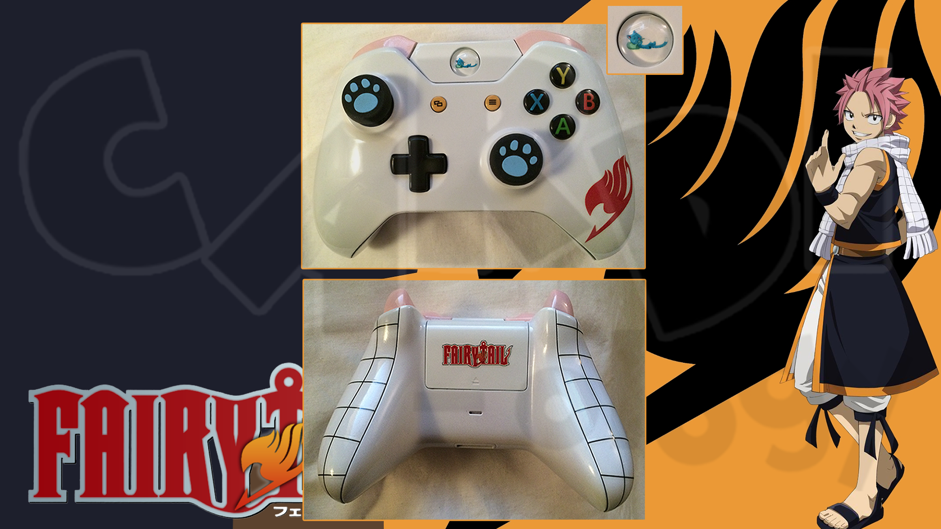 custom xbox one controller natsu dragneel happy from fairy tail