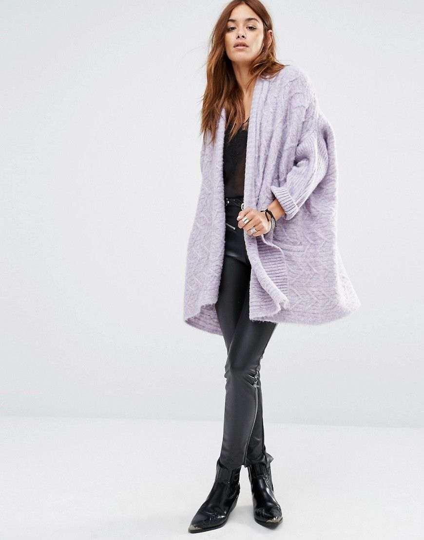 Image 4 of Religion Luxury Waterfall Cardigan In Fluffy Knit ...