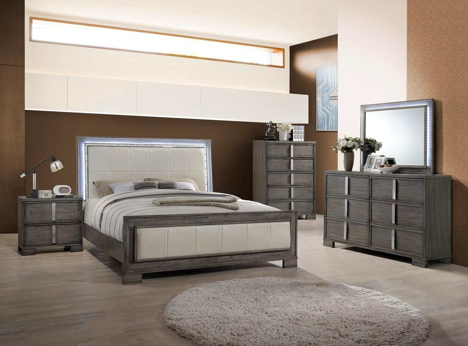 Edgewater B9731 Grey With Images Modern Bedroom Set New