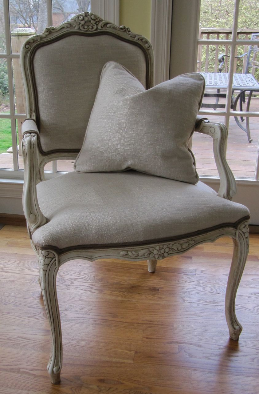 Excellent French Chair In Off White With Dark Wax Finish Linen Ibusinesslaw Wood Chair Design Ideas Ibusinesslaworg