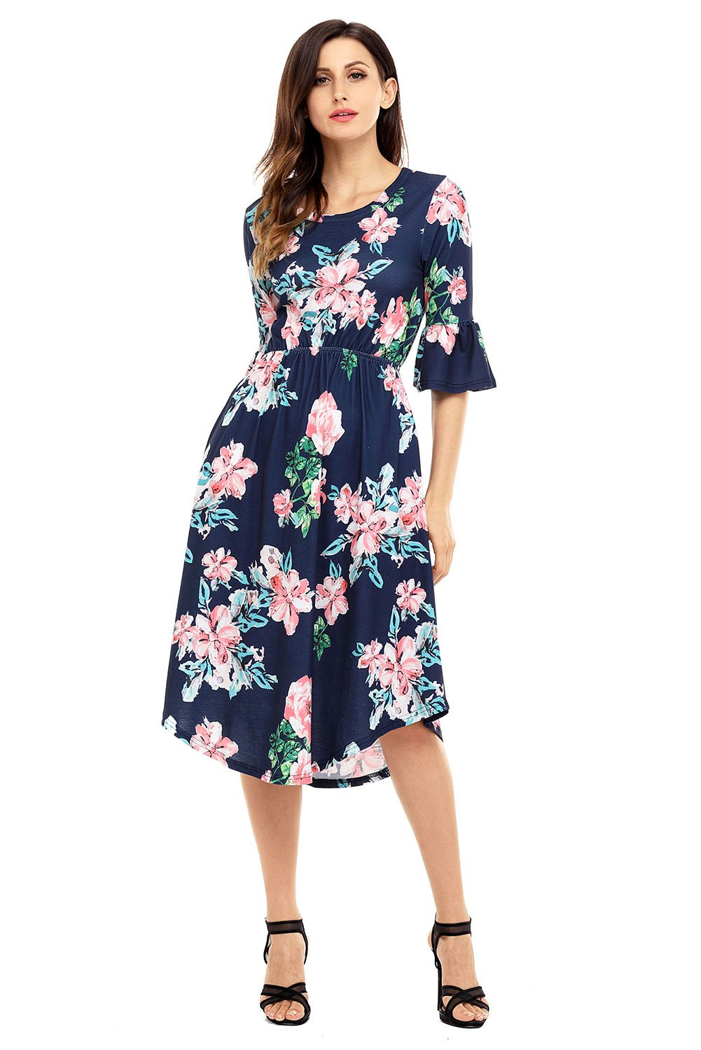 907f7903282 Navy Blue 3 4 Bell Sleeve Floral Midi Dress