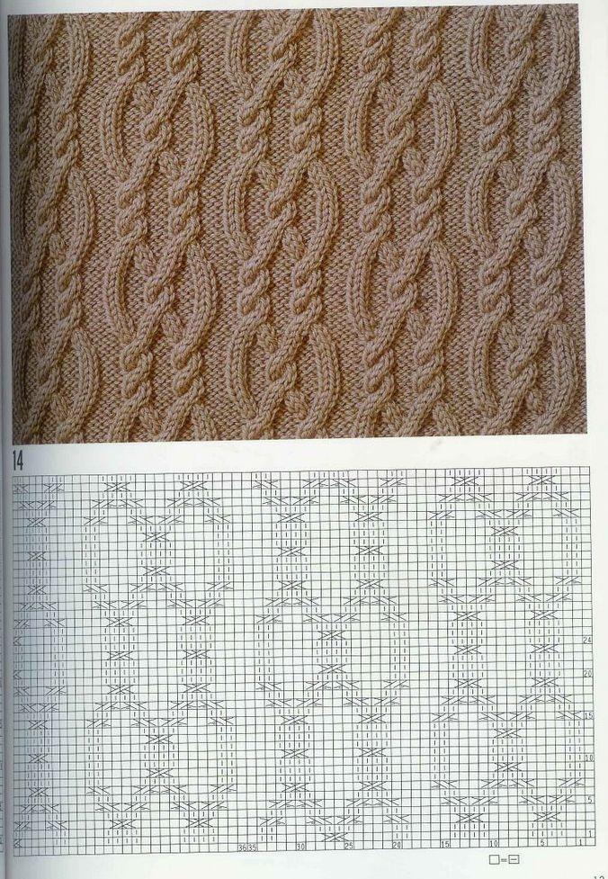 Cable chart pattern араны, вязание | Patrones de punto | Pinterest ...