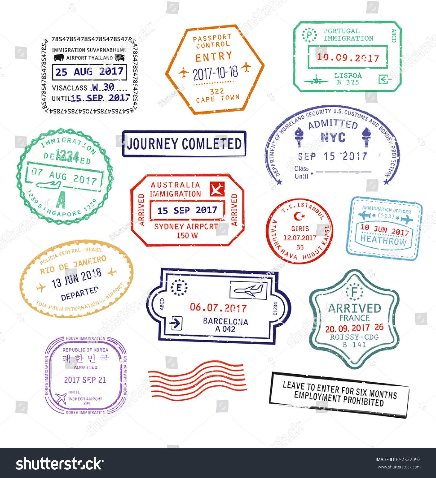 Raster Set Of Isolated Visa Passport Stamps For Travel To United Kingdom Heathrow Airport Singapore Or New York City In USA Sydney Australia France