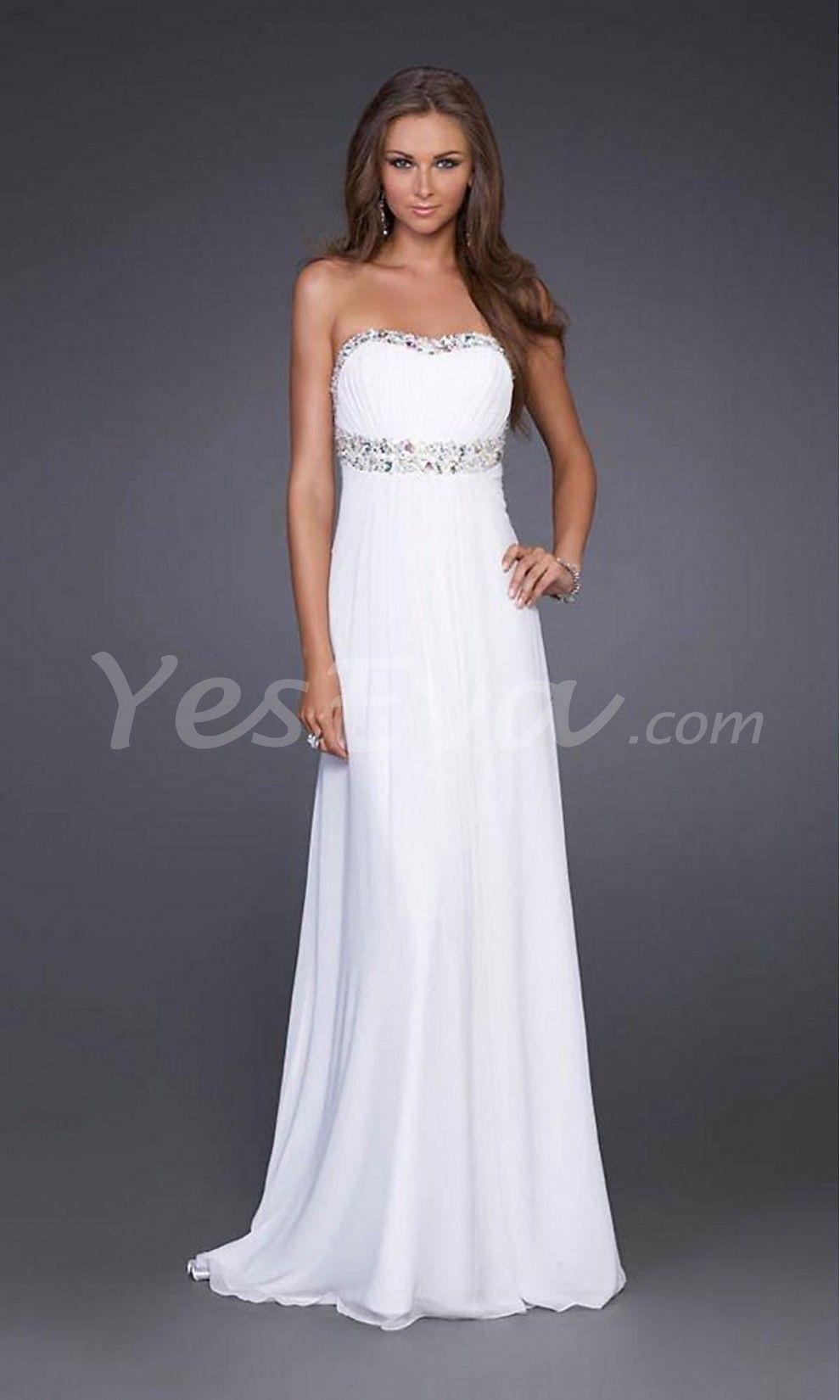 Elegant Strapless Empire Open Back Chiffon Prom Dresses.$149.99
