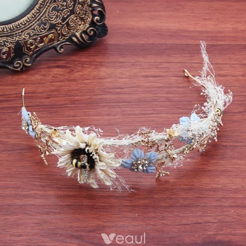 Najpiekniejsze Ekskluzywne Kosc Sloniowa Blekitne Kwiat Ozdoby Do Wlosow 2018 Metal Rhinestone Akcesoria Flower Headpiece Hair Accessories Tiara Bridal Hair Accessories
