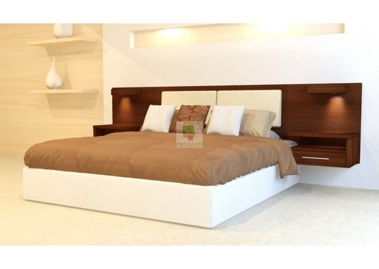 Respaldo de sommier con mesas de luz flotantes y apliques - Ver cabeceros de cama ...