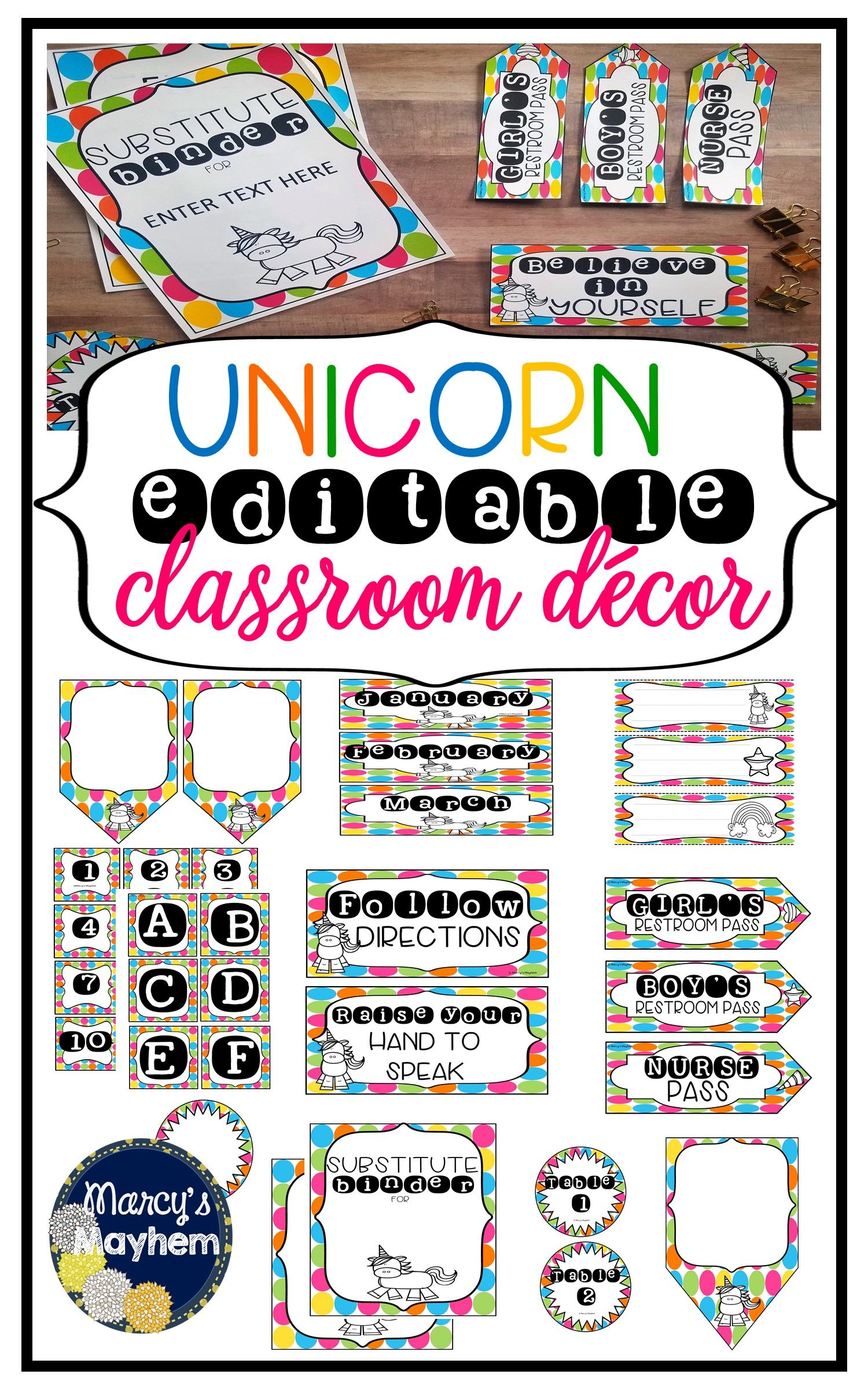 Unicorn Classroom Theme Editable Decor Set