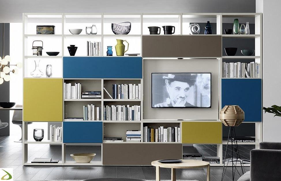 Libreria Bifacciale Con Porta Tv.Libreria Calipso Library Room Tavoli Da Cucina Rustici