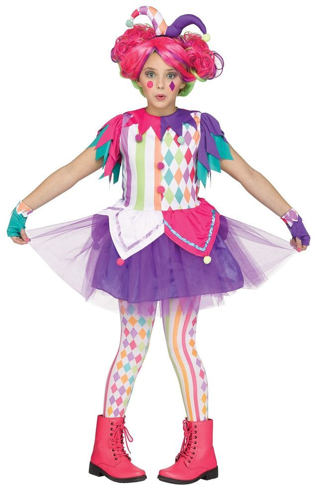 Harlequin Joker Jester Circus Vibrant Colorful Funny Child Halloween Costume…