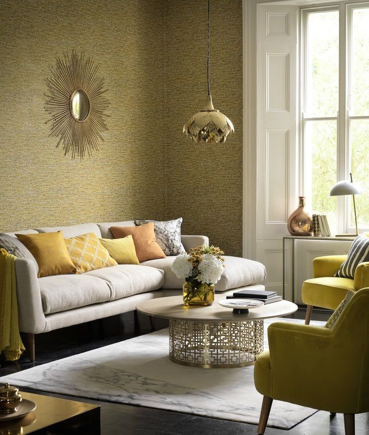 A Dark Wood Floor And Textured Wallpaper Provide A Perfect Base For This Opulent Living R Best Living Room Design Luxury Living Room Gold Wallpaper Living Room