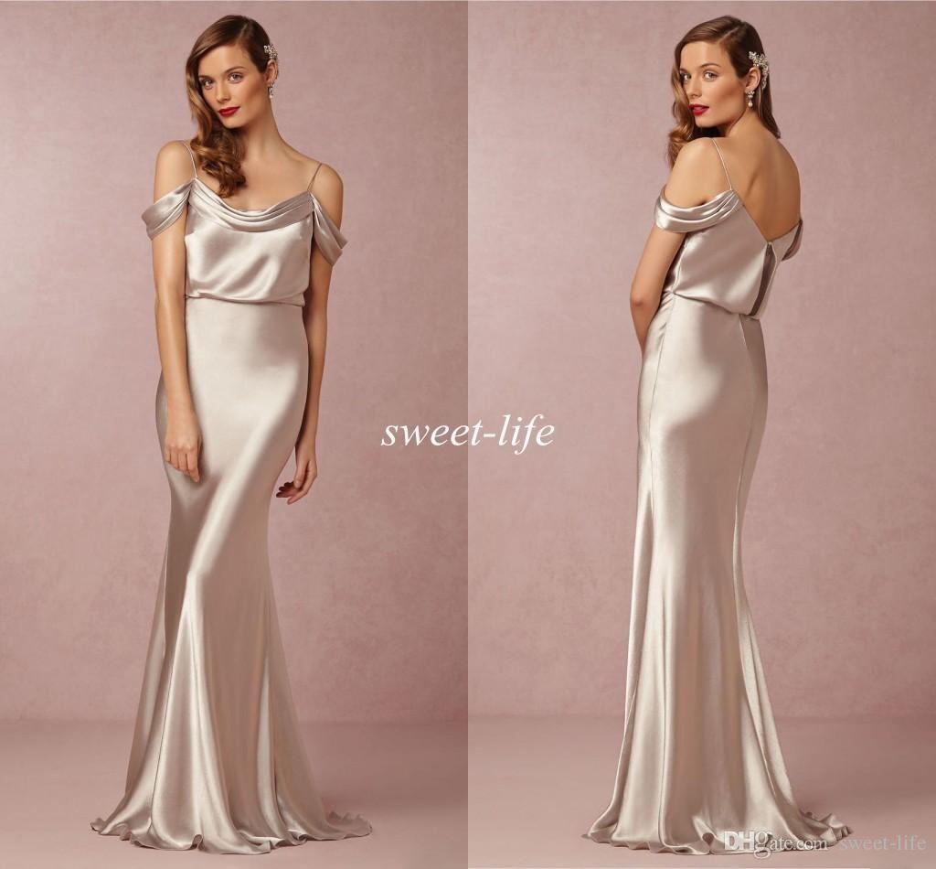 Sexy Silver Long Bridesmaid Dresses Mermaid Spaghetti Straps 2015 ...