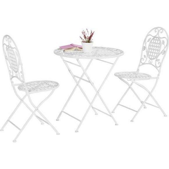 Perfect Die Gartenst hle und der passende Tisch aus Schmiedeeisen in Wei garantieren tolle Sommerabende mit Ihren Freunden