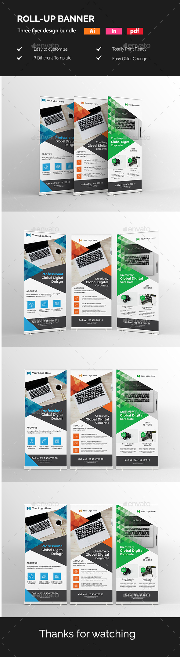 Roll-Up Banner Template Vector EPS, InDesign INDD, AI Illustrator ...