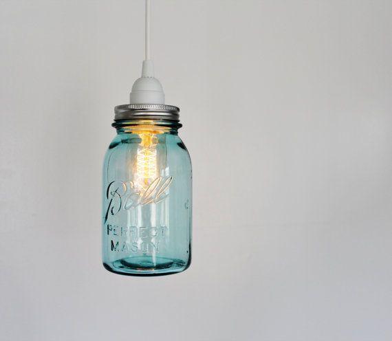 Mason jar pendant lamp upcycled hanging lighting fixture featuring mason jar pendant lamp upcycled hanging lighting fixture featuring a vintage aqua blue ball mason aloadofball Choice Image