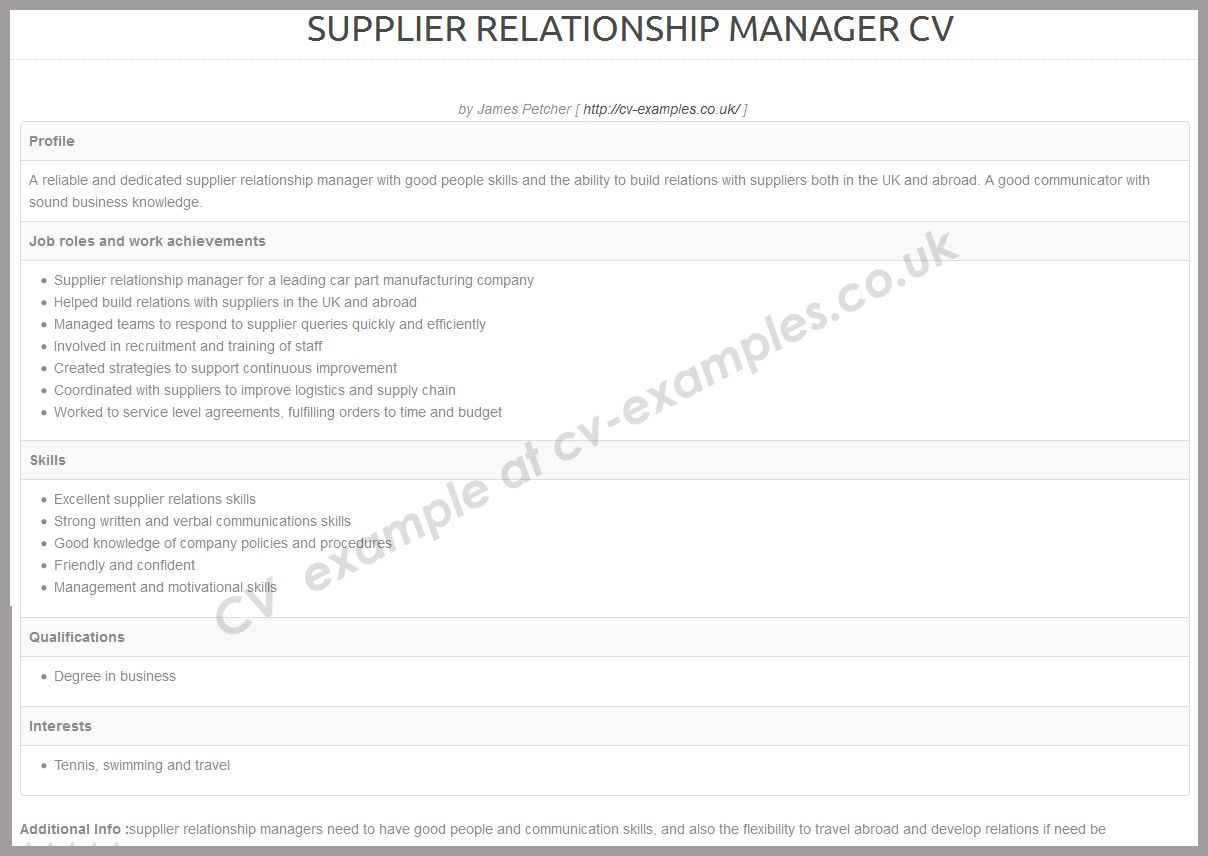 Supplier Relationship Manager Cv Example  Cv Examples