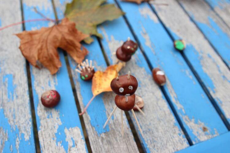 Basteln mit Kastanien im Herbst - tolle Ideen für