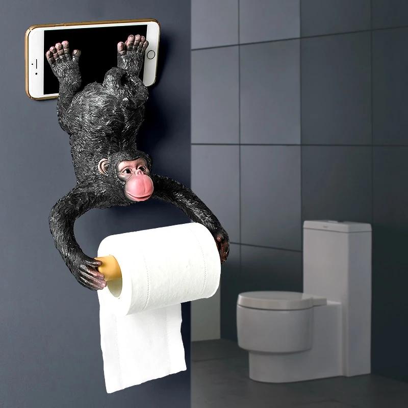 Monkey Statue Roll Paper Holder Wall Mount Toilet Paper Holder Toilet Paper Humor Funny Toilet Paper Holder