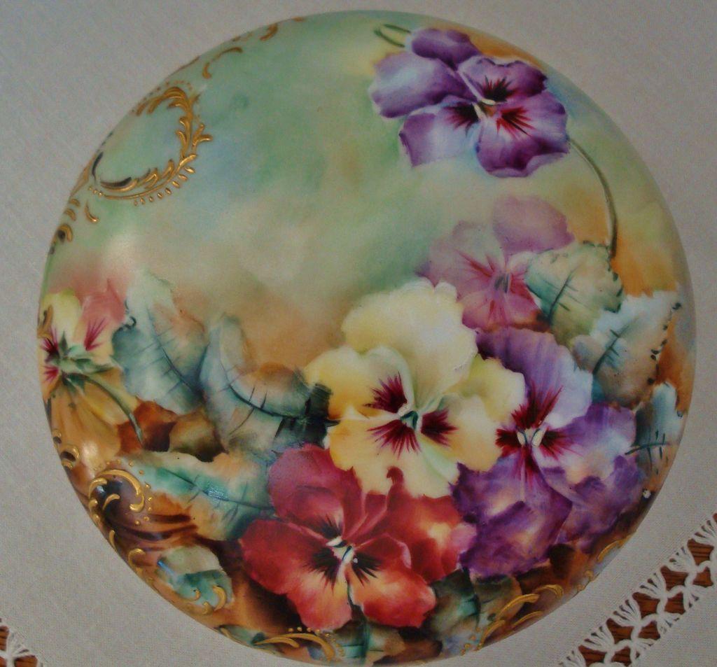 Antique Limoges France Hand Painted Porcelain Powder Box ~Pansies~