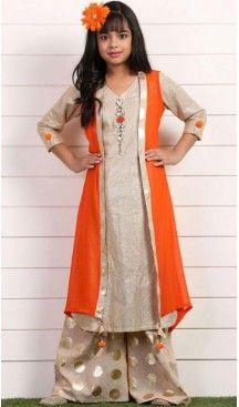 53e97399040 Creme Color Georgette Fabric Readymade Kids Girl Lehenga Choli ...
