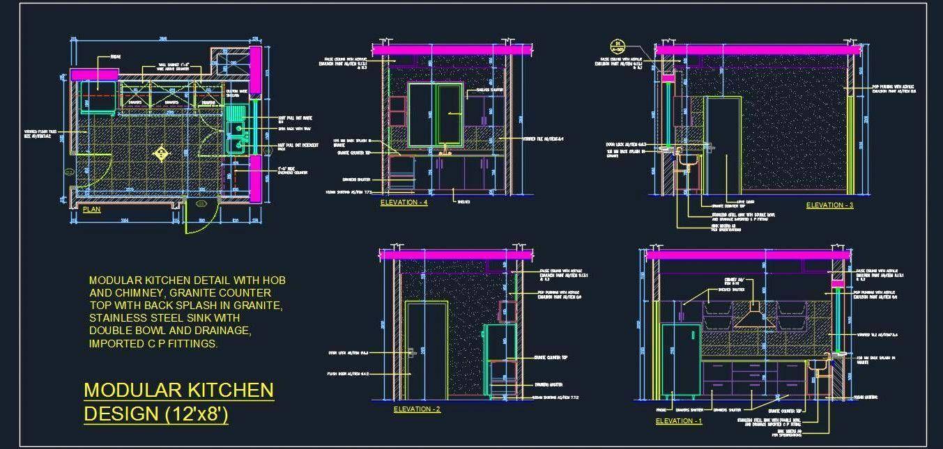 Modular Kitchen Design Detail 12 X8 Autocad Dwg Plan N Design 12x8 Design Detail Kitchen M In 2020 Kitchen Cabinet Design Pantry Design Kitchenette Design