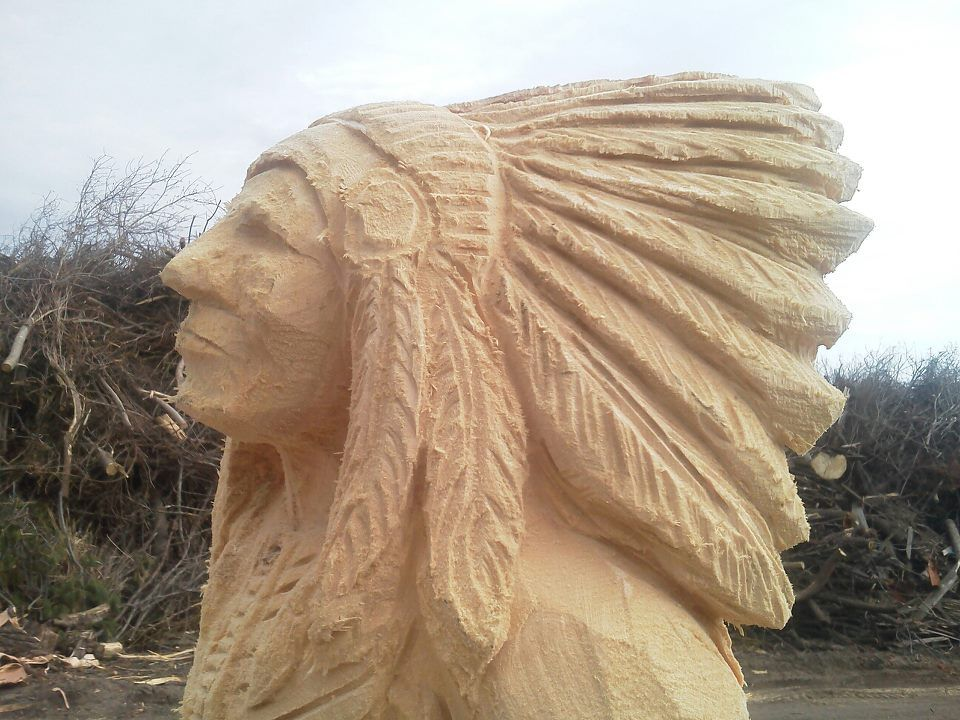 Indian head bust profile other carvers wood carvings