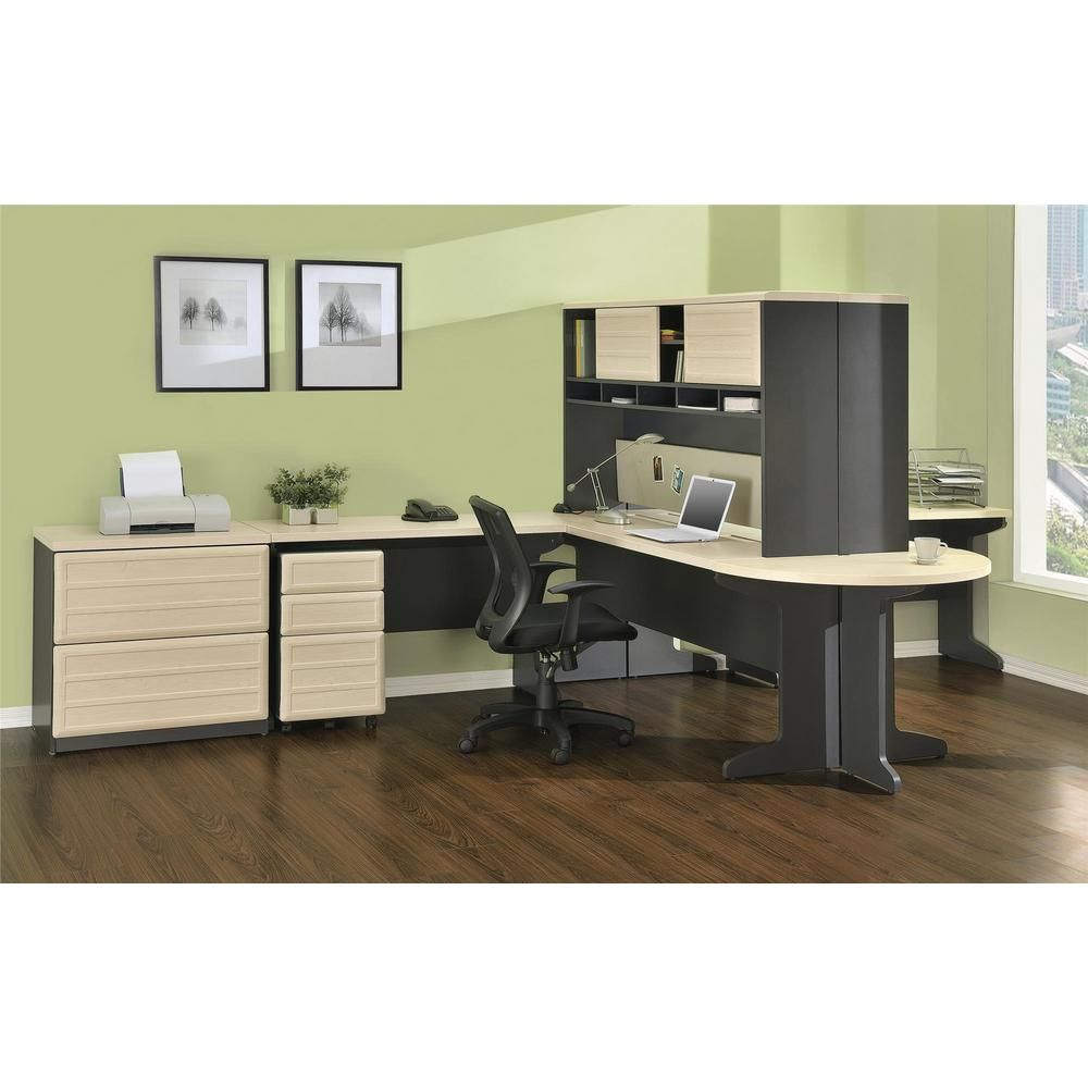 Ameriwood home mansfield natural and gray executive desk