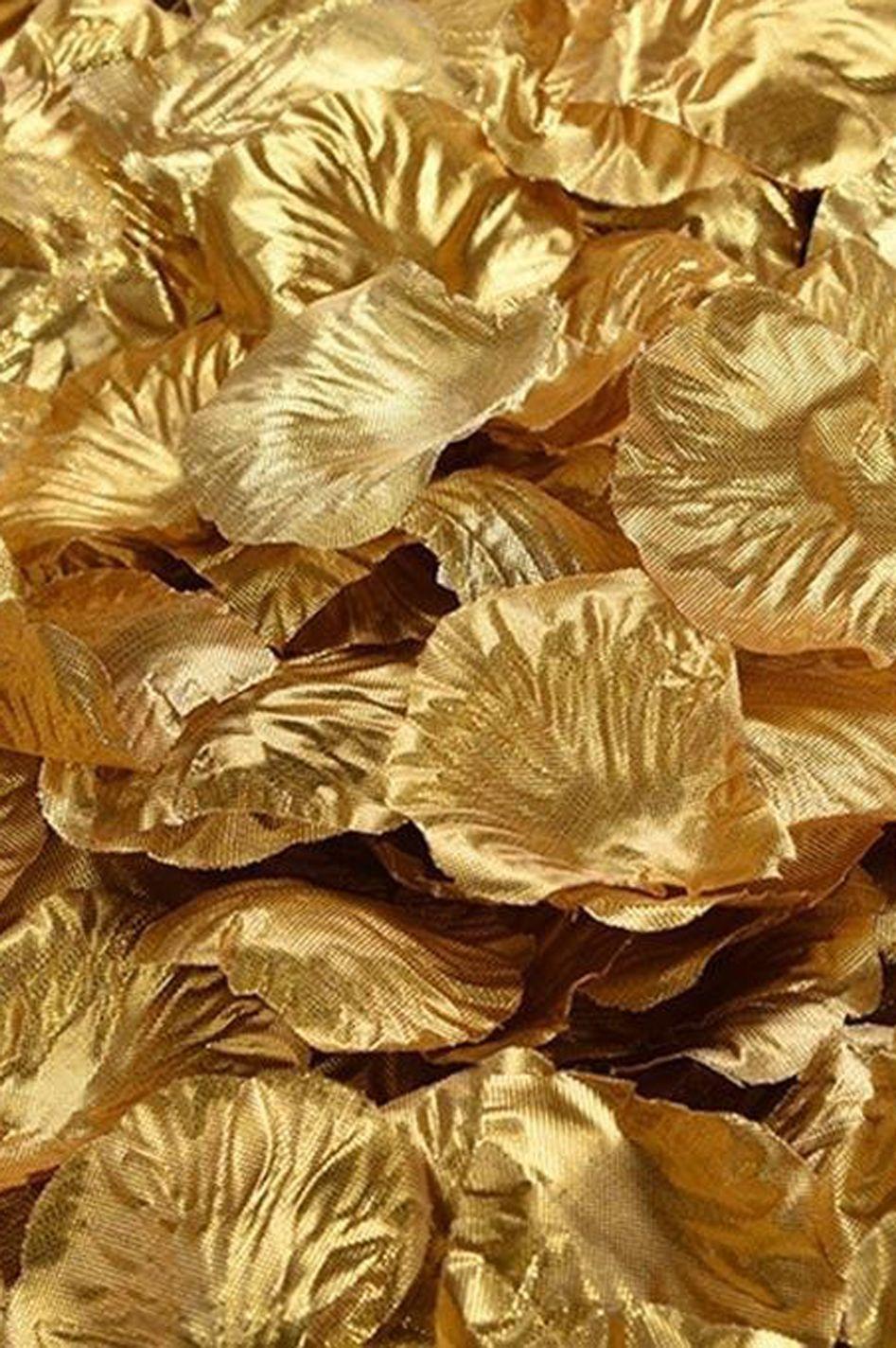 Silk Rose Petals Metallic Gold Bag Of 300 Pcs Gold Aesthetic Gold Flowers Gold Metal