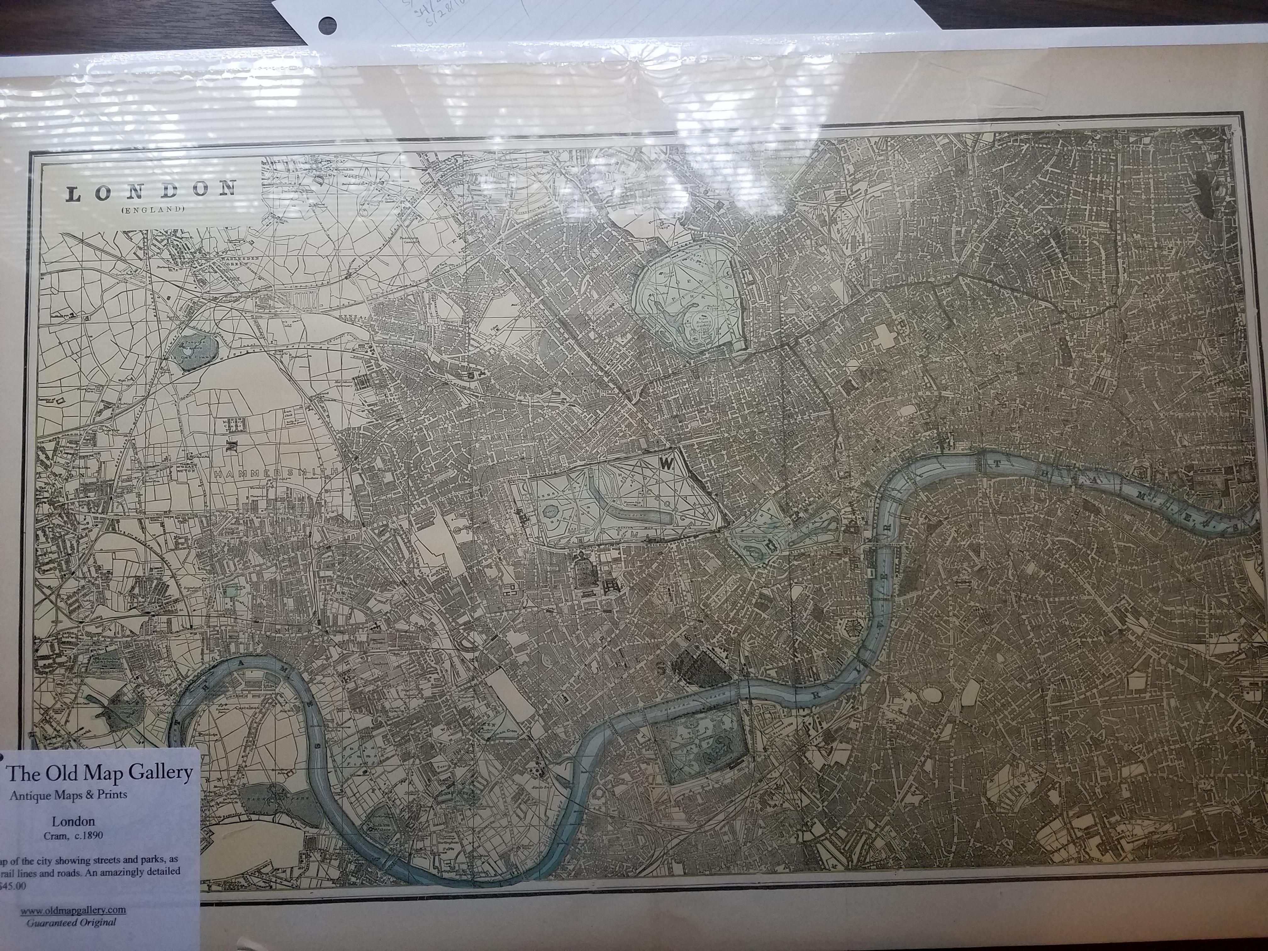 Map of London made in 1890 Map