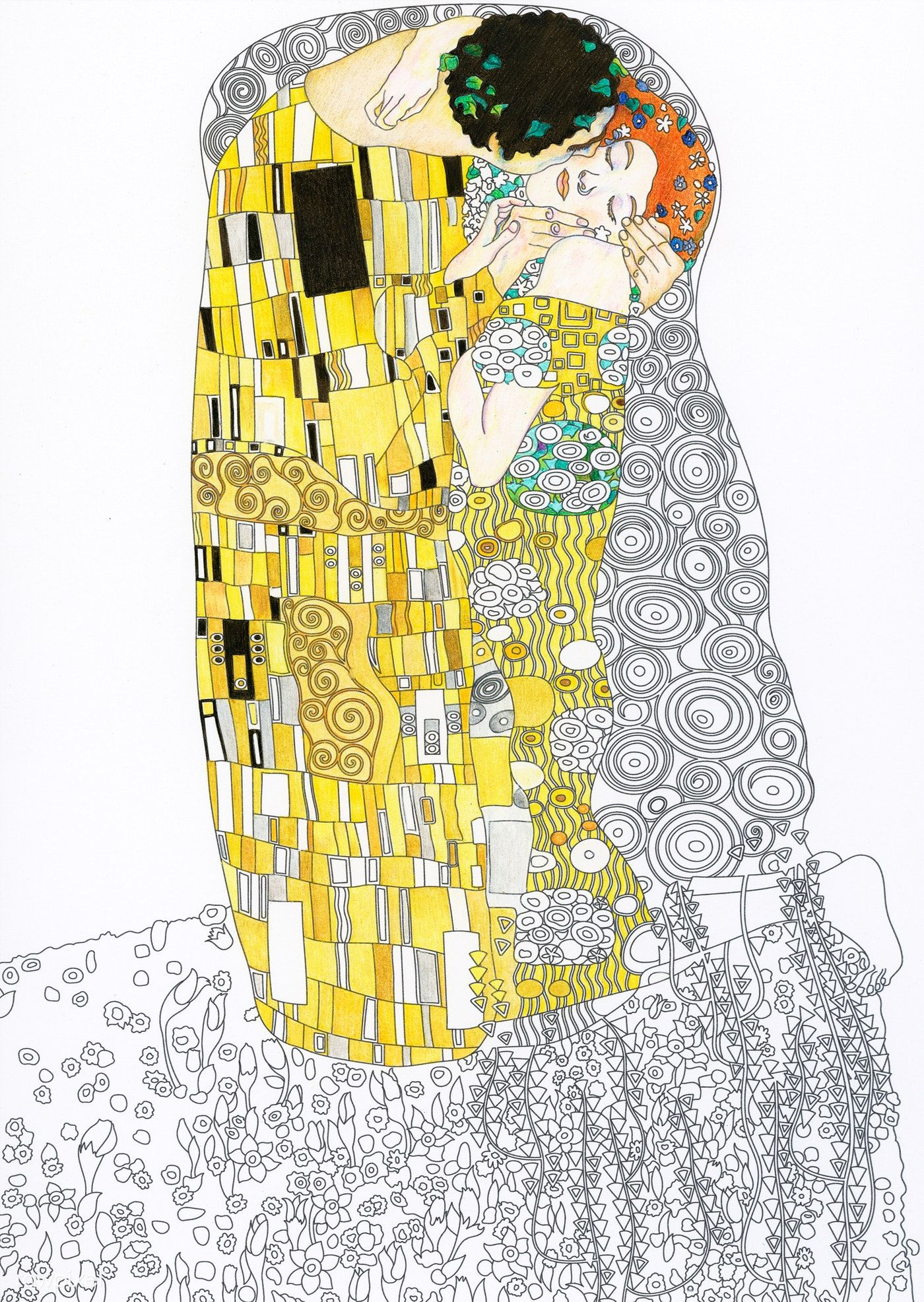 The Kiss Painting By Gustav Klimt Adult Coloring Page Free