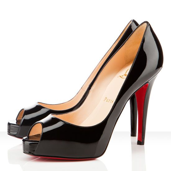 Christian Louboutin Very Prive 120mm Peep Toe Pumps Black Red Sole Shoes