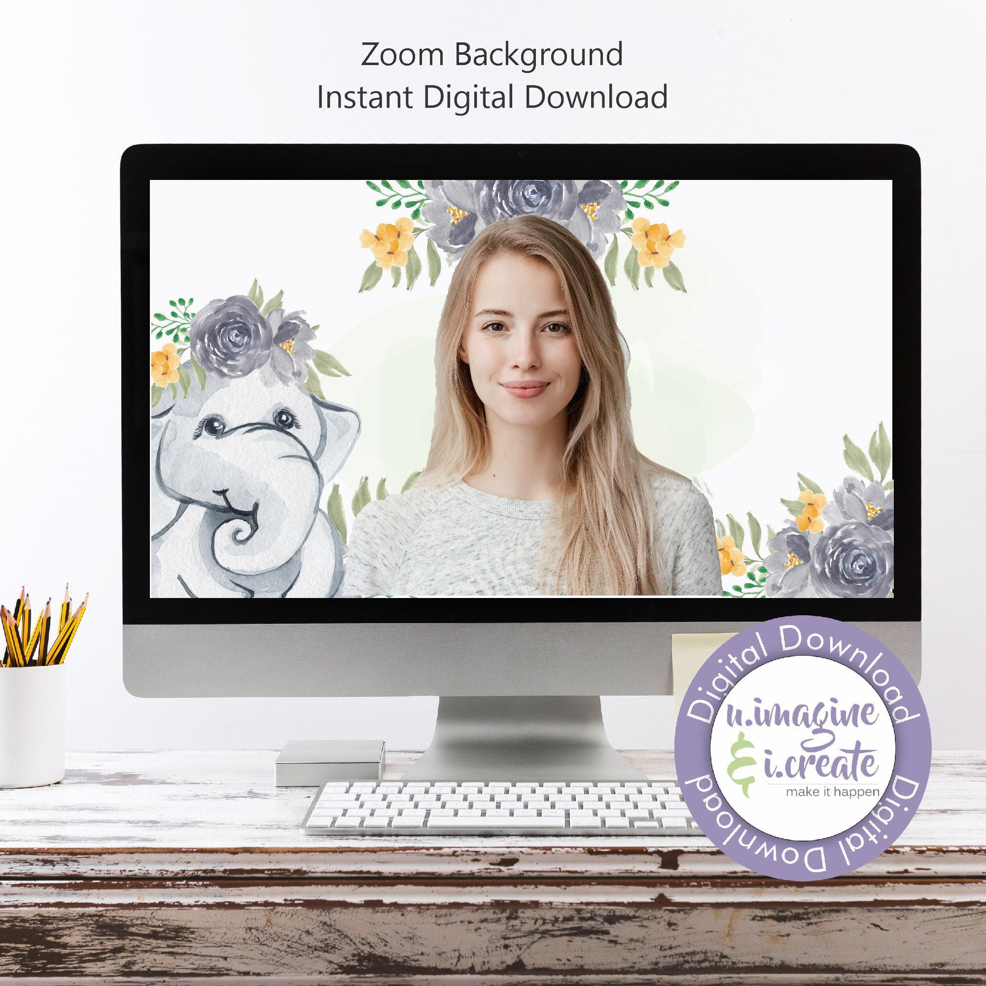 Baby Elephant Baby Shower Zoom Background Bundle Baby Etsy In 2021 Baby Shower Background Virtual Baby Shower Baby Shower