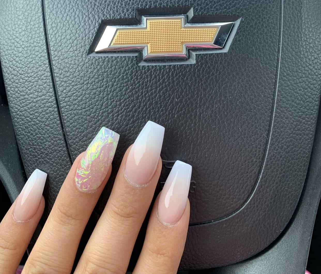 Ombre Iridescent Acrylic Nails Acrylicnails Ombre Coffin Coffinnails Irridescent Nails Nails Acrylic Nails