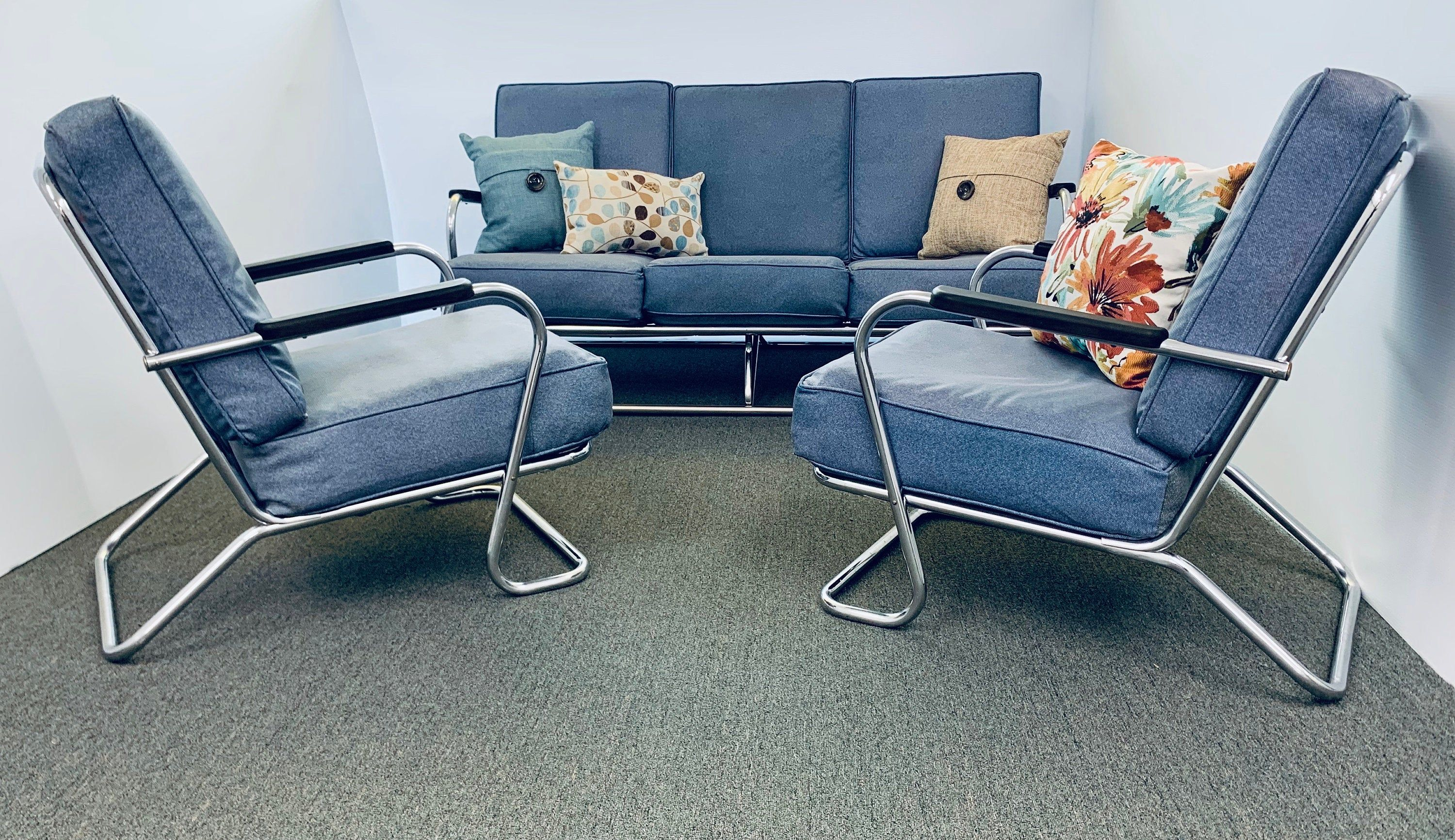 Antique Mid Century Lloyd Tubular Couch And 2 Chairs Set Deco Chrome Rare Couch Shopping Mcm Living Room Vintage Cushions #set #of #2 #chairs #for #living #room