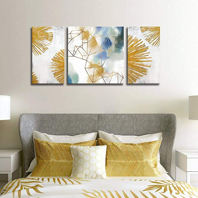 Amazon Com Geometric Abstract Wall Art 3 Pieces Large Painting Blue White Canvas Print Gold Metallic Wall Artwor In 2020 Abstract Wall Art Wall Artwork Large Painting