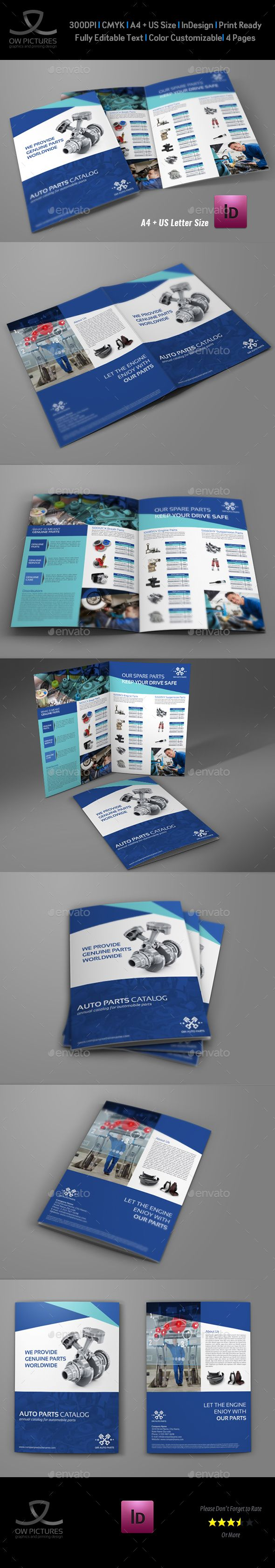 Auto Parts Catalog BiFold Brochure Template Brochure Template - Bi fold brochure template indesign