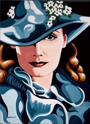 Art deco Portrait of Gretta Garbo Painting Painting - Portrait ...