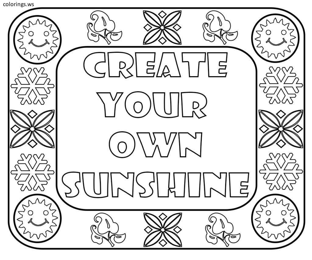 Create Your Own Sunshine Sayings Coloring Page Sayings