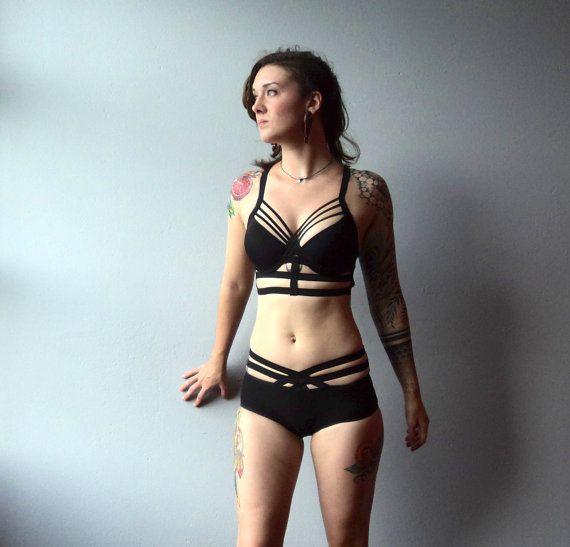 541578ca07 Custom Bra Harness Bondage Body Cage Elastic by origamicustoms