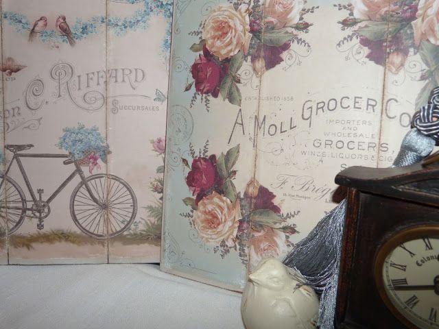 Cuadros vintage, realizado sobre tabla simulando tríptico y papel ...