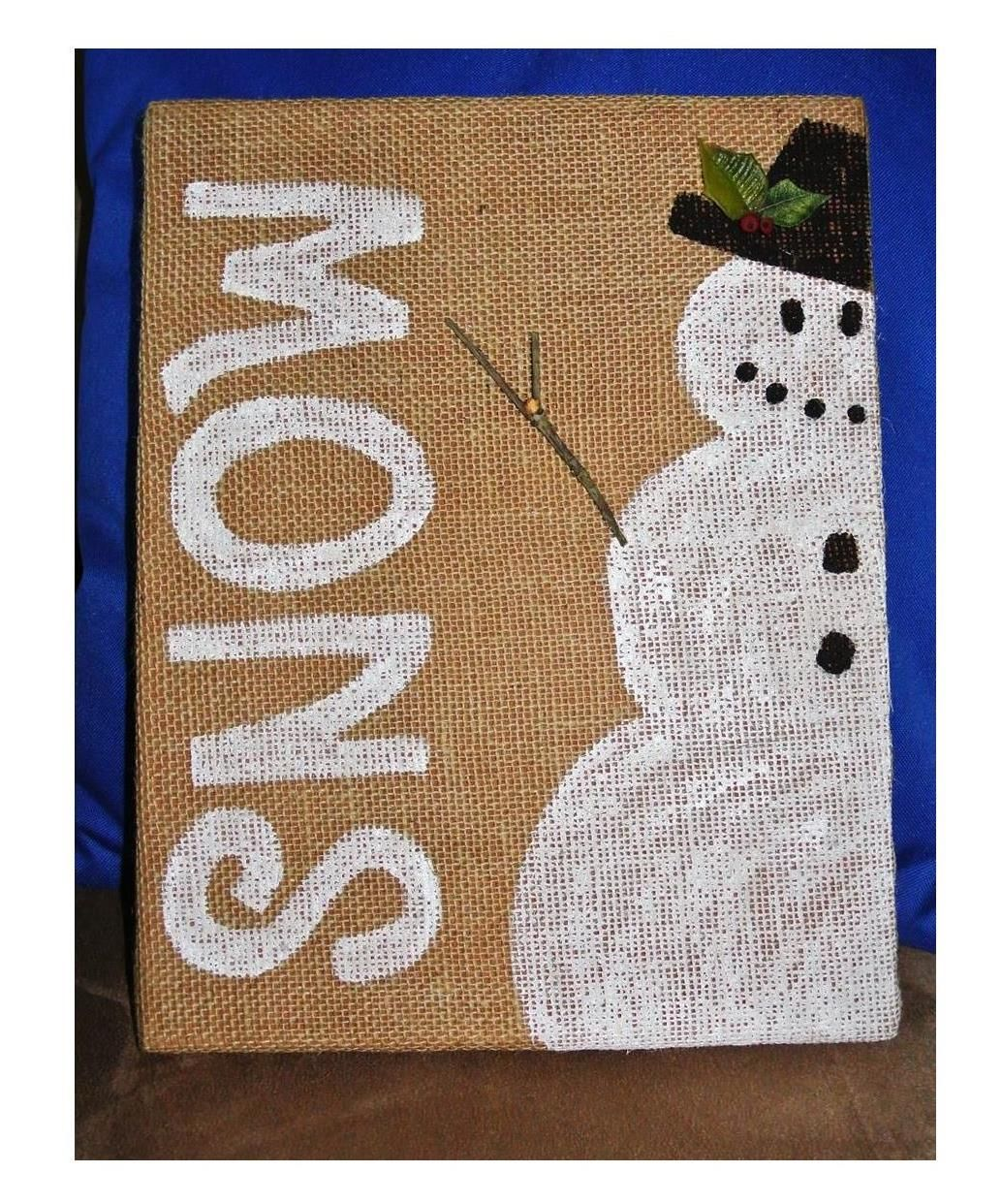 Painted Snowman On Burlap Canvas