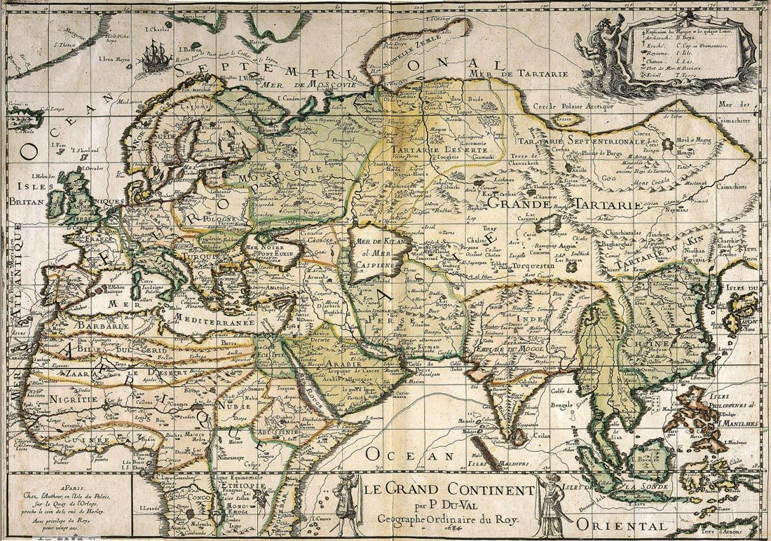 Le Grand Continent // Europe, Asia, & part of Africa - Du-Val - 1684 ...