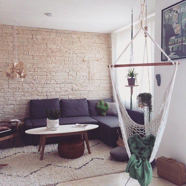 Un Hamac Suspendu Dans Le Salon Home Pinterest